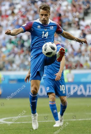 Iceland's Kari Arnason during the group D match between Nigeria and Iceland at the 2018 soccer World Cup in the Volgograd Arena in Volgograd, Russia