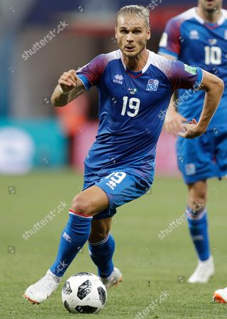 Iceland's Rurik Gislason during the group D match between Nigeria and Iceland at the 2018 soccer World Cup in the Volgograd Arena in Volgograd, Russia