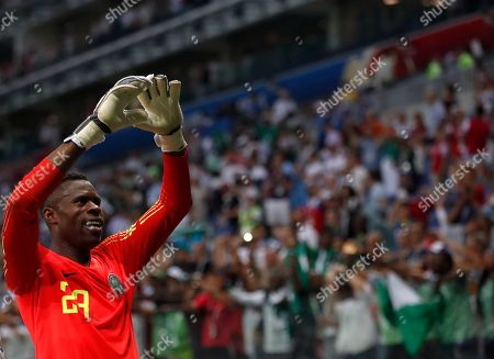 Nigeria goalkeeper Francis Uzoho waves to his team's supporters after their 2-0 win in group D over Iceland at the 2018 soccer World Cup in the Volgograd Arena in Volgograd, Russia