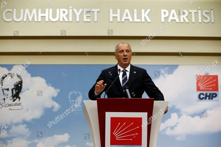 Stock Image of Muharrem Ince, oppositional presidential candidate speaks during a press conference after election results in Ankara, Turkey, 25 June 2018. Ince conceded defeat after some 56.3 million registered citizens voted in snap presidential and parliamentary elections to elect 600 lawmakers and the country's president, the first election since the Turkish people in a referendum in April 2017 voted to change the country's system from a parliamentary to a presidential republic.