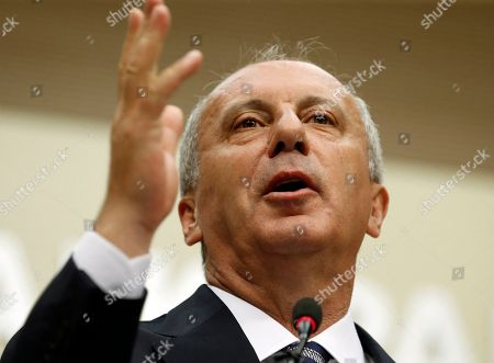 Stock Picture of Muharrem Ince, oppositional presidential candidate speaks during a press conference after election results in Ankara, Turkey, 25 June 2018. Ince conceded defeat after some 56.3 million registered citizens voted in snap presidential and parliamentary elections to elect 600 lawmakers and the country's president, the first election since the Turkish people in a referendum in April 2017 voted to change the country's system from a parliamentary to a presidential republic.