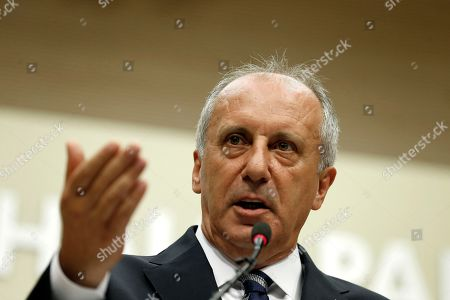 Stock Photo of Muharrem Ince, oppositional presidential candidate speaks during a press conference after election results in Ankara, Turkey, 25 June 2018. Ince conceded defeat after some 56.3 million registered citizens voted in snap presidential and parliamentary elections to elect 600 lawmakers and the country's president, the first election since the Turkish people in a referendum in April 2017 voted to change the country's system from a parliamentary to a presidential republic.