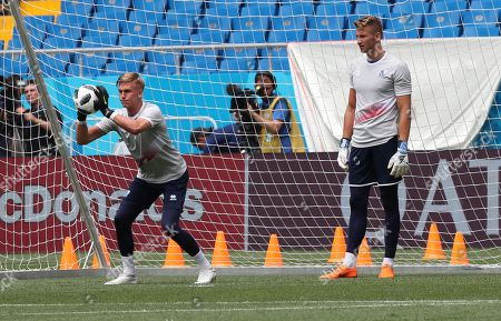 Iceland goalkeeper Runar Runarsson (L) and Frederik Schram (R) during a training session in Rostov-on-Don, Russia, 25 June 2018. Iceland  will face Coratia on 26 June in their last preliminary round Group D match of the FIFA World Cup 2018.