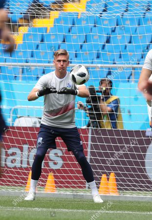 Iceland goalkeeper Runar Runarsson during a training session in Rostov-on-Don, Russia, 25 June 2018. Iceland  will face Coratia on 26 June in their last preliminary round Group D match of the FIFA World Cup 2018.