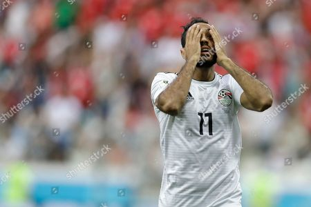 Egypt's Kahraba reacts after missing a chance to score during the group A match between Saudi Arabia and Egypt at the 2018 soccer World Cup at the Volgograd Arena in Volgograd, Russia