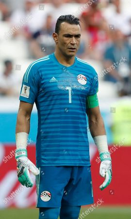 Egypt goalkeeper Essam El Hadary looks on during the group A match between Saudi Arabia and Egypt at the 2018 soccer World Cup at the Volgograd Arena in Volgograd, Russia