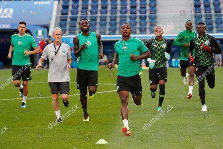 Nigeria's national soccer team forward Odion Ighalo (C) attends a training session in St.Petersburg, Russia, 25 June 2018. Nigeria will face Argentina in the FIFA World Cup 2018 Group D preliminary round soccer match on 26 June 2018.