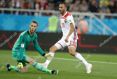 Morocco's Khalid Boutaib scores his side's first goal past Spain goalkeeper David De Gea during the group B match between Spain and Morocco at the 2018 soccer World Cup at the Kaliningrad Stadium in Kaliningrad, Russia