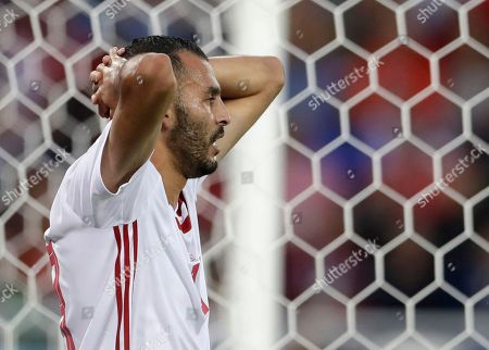 Morocco's Khalid Boutaib reacts after missing an opportunity to score during the group B match between Spain and Morocco at the 2018 soccer World Cup at the Kaliningrad Stadium in Kaliningrad, Russia