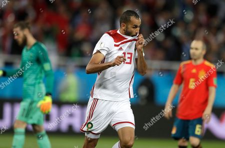 Morocco's Khalid Boutaib celebrates scoring his side's first goal during the group B match between Spain and Morocco at the 2018 soccer World Cup at the Kaliningrad Stadium in Kaliningrad, Russia
