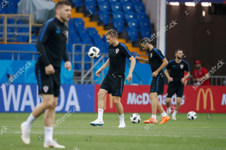 Croatia's Filip Bradaric (C) attends a training session in Rostov-on-Don, Russia 25 June 2018. Croatia will play Iceland in their final FIFA World Cup 2018 Group D preliminary round soccer match on 26 June 2018.