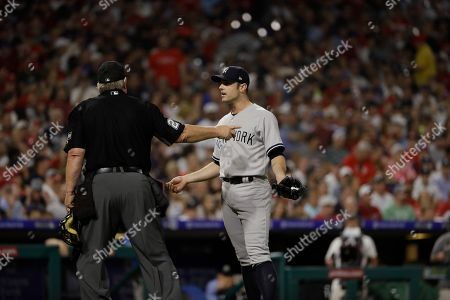 New York Yankees' David Robertson in action during a baseball game against the Philadelphia Phillies, in Philadelphia