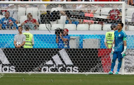 Egypt goalkeeper Essam El Hadary reacts during the group A match between Saudi Arabia and Egypt at the 2018 soccer World Cup at the Volgograd Arena in Volgograd, Russia