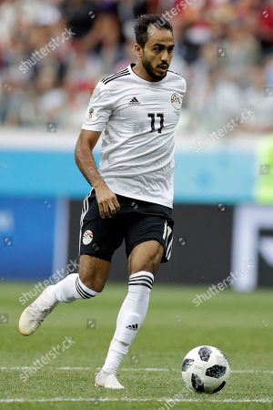 Egypt's Kahraba during the group A match between Saudi Arabia and Egypt at the 2018 soccer World Cup at the Volgograd Arena in Volgograd, Russia