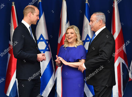 Prince William meets Prime Minister Benjamin Netanyahu and wife Sara Ben-Artzi at Beit Aghion, the official residence of the Prime Minister of Israel in Jerusalem