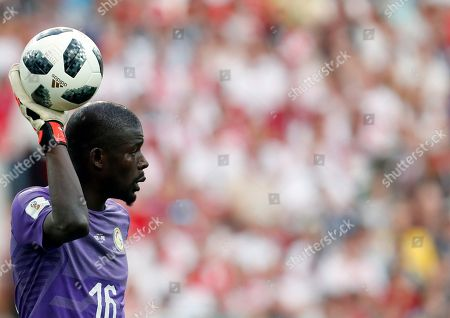 Senegal goalkeeper Khadim Ndiaye during the group H match between Poland and Senegal at the 2018 soccer World Cup n the Spartak Stadium in Moscow, Russia