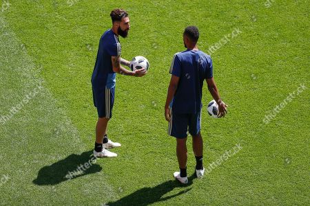 Jimmy Durmaz (L) of Sweden attends a team's training session in Ekaterinburg, Russia, 26 June 2018. Sweden will face Mexico in the FIFA World Cup 2018 group F preliminary round soccer match on 27 June 2018.