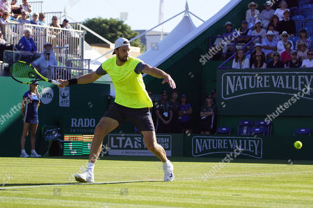 Stock Photo of Cameron Norrie (GBR) Vs Daniel Brands (GER) at the Nature Valley International at Devonshire Park, Eastbourne. Picture by Jonathan Dunville
