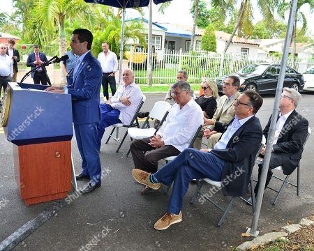 Mickey Minagorri, Miami Mayor Francis X. Suarez, Former Mayor Manny Diaz, City of Miami Commissioner Manolo Reyes, Lily Tester, Commissioner Xavier Louis Suárez, Andy Garcia and David Valoente