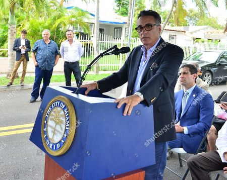 Stock Image of Andy Garcia and Miami Mayor Francis X. Suarez