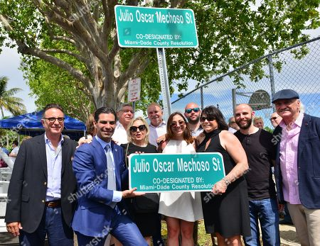 Andy Garcia, Miami Mayor Francis X. Suarez, City of Miami Commissioner Manolo Reyes, Lily Tester, Mickey Minagorri and Linda Ruiz Mechoso