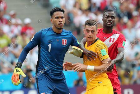 Goalkeeper Pedro Gallese of Peru, Tomi Juric of Australia and Christian Ramos of Peru