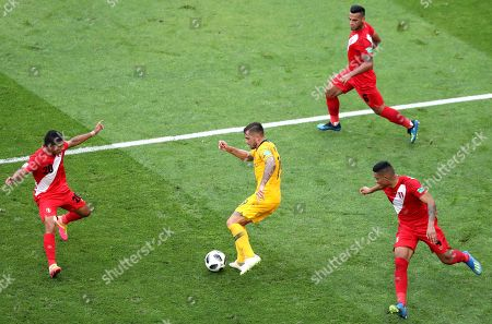 Joshua Risdon (C) of Australia in action during the FIFA World Cup 2018 group C preliminary round soccer match between Australia and Peru in Sochi, Russia, 26 June 2018. (RESTRICTIONS APPLY: Editorial Use Only, not used in association with any commercial entity - Images must not be used in any form of alert service or push service of any kind including via mobile alert services, downloads to mobile devices or MMS messaging - Images must appear as still images and must not emulate match action video footage - No alteration is made to, and no text or image is superimposed over, any published image which: (a) intentionally obscures or removes a sponsor identification image; or (b) adds or overlays the commercial identification of any third party which is not officially associated with the FIFA World Cup)