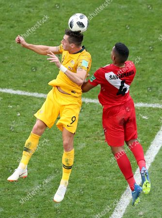 Tomi Juric (L) of Australia and Anderson Santamaria of Peru in action during the FIFA World Cup 2018 group C preliminary round soccer match between Australia and Peru in Sochi, Russia, 26 June 2018. (RESTRICTIONS APPLY: Editorial Use Only, not used in association with any commercial entity - Images must not be used in any form of alert service or push service of any kind including via mobile alert services, downloads to mobile devices or MMS messaging - Images must appear as still images and must not emulate match action video footage - No alteration is made to, and no text or image is superimposed over, any published image which: (a) intentionally obscures or removes a sponsor identification image; or (b) adds or overlays the commercial identification of any third party which is not officially associated with the FIFA World Cup)