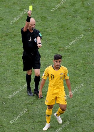 Daniel Arzani of Australia is booked during the FIFA World Cup 2018 group C preliminary round soccer match between Australia and Peru in Sochi, Russia, 26 June 2018. (RESTRICTIONS APPLY: Editorial Use Only, not used in association with any commercial entity - Images must not be used in any form of alert service or push service of any kind including via mobile alert services, downloads to mobile devices or MMS messaging - Images must appear as still images and must not emulate match action video footage - No alteration is made to, and no text or image is superimposed over, any published image which: (a) intentionally obscures or removes a sponsor identification image; or (b) adds or overlays the commercial identification of any third party which is not officially associated with the FIFA World Cup)