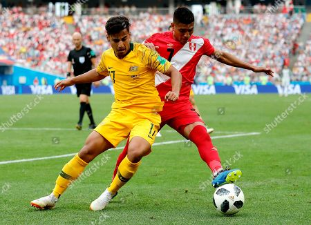 Stock Photo of Daniel Arzani of Australia and Paolo Hurtado of Peru