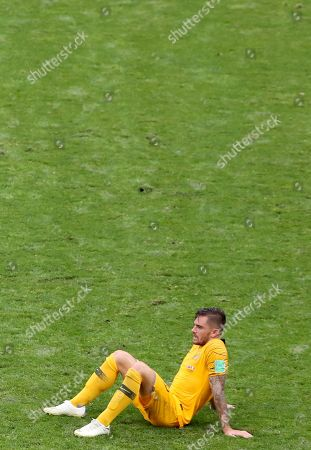 Joshua Risdon of Australia reacts after the FIFA World Cup 2018 group C preliminary round soccer match between Australia and Peru in Sochi, Russia, 26 June 2018. (RESTRICTIONS APPLY: Editorial Use Only, not used in association with any commercial entity - Images must not be used in any form of alert service or push service of any kind including via mobile alert services, downloads to mobile devices or MMS messaging - Images must appear as still images and must not emulate match action video footage - No alteration is made to, and no text or image is superimposed over, any published image which: (a) intentionally obscures or removes a sponsor identification image; or (b) adds or overlays the commercial identification of any third party which is not officially associated with the FIFA World Cup)