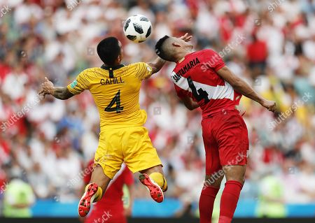 Tim Cahill of Australia in action against Anderson Santamaria of Peru during the FIFA World Cup 2018 group C preliminary round soccer match between Australia and Peru in Sochi, Russia, 26 June 2018.