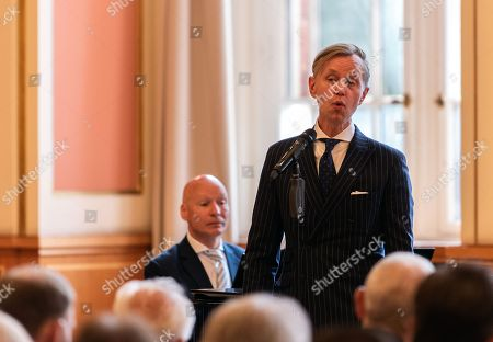 German singer Max Raabe (R) sings a song with pianist Christoph Israel (L) as Margot Friedlaender and Inge Deutschkron are awarded the honorary citizenhip during a ceremony at the City Hall of Berlin, Germany, 26 June 2018. Holocaust survivors Margot Friedlaender and Inge Deutschkron were awarded the honorary citizenship of Berlin because they 'as contemporary witnesses of the Holocaust, have made the fight against forgetfulness their life theme,' Berlin Mayor Mueller said.