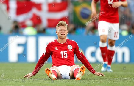Denmark's Viktor Fischer grimaces during the group C match between Denmark and France at the 2018 soccer World Cup at the Luzhniki Stadium in Moscow, Russia
