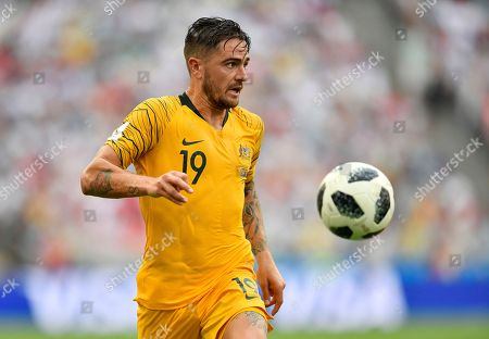 Australia's Joshua Risdon goes with the ball during the group C match between Australia and Peru, at the 2018 soccer World Cup in the Fisht Stadium in Sochi, Russia