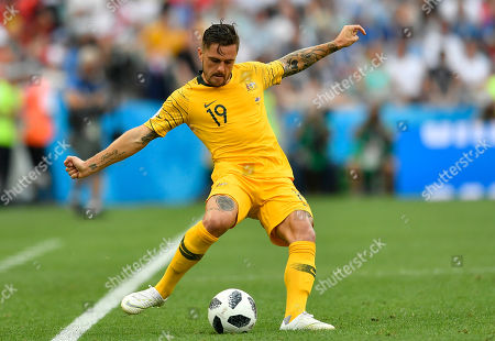 Australia's Joshua Risdon kicks a ball during the group C match between Australia and Peru, at the 2018 soccer World Cup in the Fisht Stadium in Sochi, Russia
