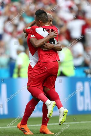 Luis Ovalle of Panama celebrates scoring his sides first goal with Christian Cueva