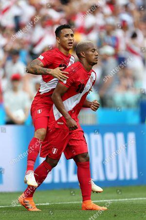 Luis Ovalle of Panama celebrates scoring his sides first goal with Yoshimar Yotun