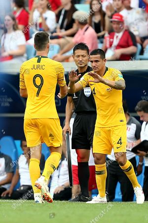 Tim Cahill of Australia replaces Tomi Juric of Australia as a second half substitute