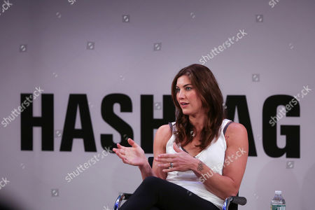 World Cup champion Hope Solo speaks during the Hashtag Sports 2018 conference at the TimesCenter, in New York