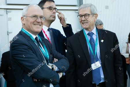 Stock Photo of French electric utility company EDF CEO Jean-Bernard Levy and Philippe Varin President du conseil d'administration d' Orano