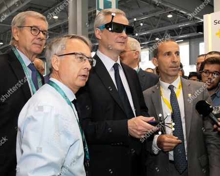 Philippe Varin Pdt du conseil d'administration de Orano, Economy and finance minister Bruno Le Maire and des Finances and Philippe Knoche PDG de Orano. WNE, World Nuclear Exhibition 2018