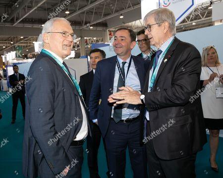 French electric utility company EDF CEO Jean-Bernard Levy, Bernard Fontana PDG de Framatome and Philippe Varin President du conseil d'administration d' Orano