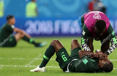 Odion Ighalo (down) of Nigeria reacts after the FIFA World Cup 2018 group D preliminary round soccer match between Nigeria and Argentina in St.Petersburg, Russia, 26 June 2018. (RESTRICTIONS APPLY: Editorial Use Only, not used in association with any commercial entity - Images must not be used in any form of alert service or push service of any kind including via mobile alert services, downloads to mobile devices or MMS messaging - Images must appear as still images and must not emulate match action video footage - No alteration is made to, and no text or image is superimposed over, any published image which: (a) intentionally obscures or removes a sponsor identification image; or (b) adds or overlays the commercial identification of any third party which is not officially associated with the FIFA World Cup)