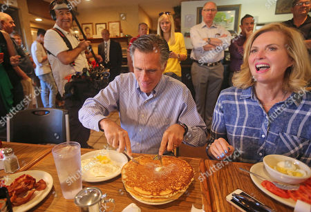 Mitt Ann Romney. Mitt and Ann Romney eat breakfast during a campaign breakfast stop at Sill's Cafe, in Layton, Utah.Utah's primary election will give former GOP presidential nominee Romney a second chance to dispatch of state lawmaker Mike Kennedy who defeated him at the party convention in his bid replace retiring U.S. Sen. Orrin Hatch