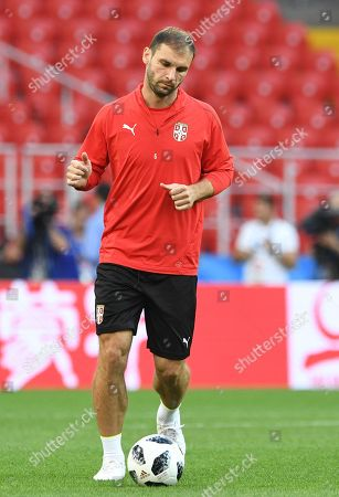 Serbia's Branislav Ivanovic during a training session in the Spartak stadium in Moscow, Russia, 26 June 2018. Serbia will face Brazil in their FIFA World Cup 2018 Group E preliminary round soccer match on 27 June 2018.