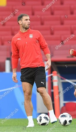 Serbia's Branislav Ivanovic in action during a training session in the Spartak stadium in Moscow, Russia, 26 June 2018. Serbia will face Brazil in their FIFA World Cup 2018 Group E preliminary round soccer match on 27 June 2018.