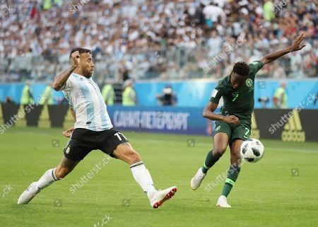 Ahmed Musa of Nigeria tackled by Nicolas Otamendi of Argentina