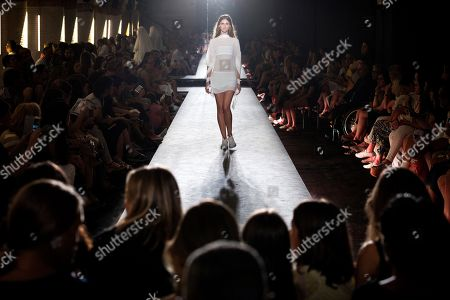 A model presents a creation by Spanish designer Txell Miras during the 080 Barcelona Fashion week, in Barcelona, Spain, 26 June 2018. The 080 Barcelona Fashion event runs from 25 to 29 June.