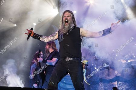 Stock Image of Walton-on-trent United Kingdom - August 11: Frontman Johann Hegg Of Swedish Death Metal Group Amon Amarth Performing Live On Stage At Bloodstock Open Air Festival In Derbyshire On August 11